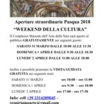 "Aperture straordinarie ""Pasqua 2018 Weekend della cultura"""